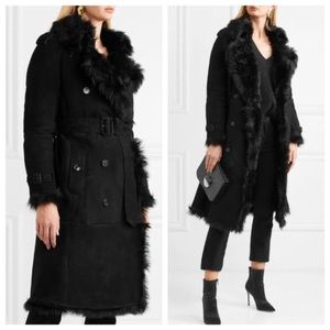 Burberry shearling fur suede black trench coat